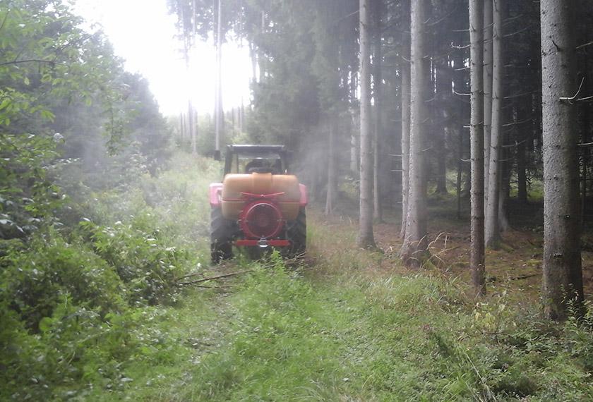 EM Vernebelung im Wald Rückansicht